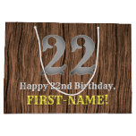[ Thumbnail: 22nd Birthday: Country Western Inspired Look, Name Gift Bag ]