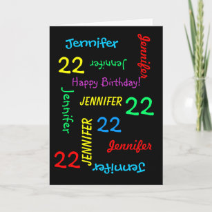 22nd Birthday Custom Card Any Name Black