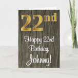 [ Thumbnail: 22nd Birthday: Elegant Faux Gold Look #, Faux Wood Card ]
