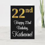 [ Thumbnail: 22nd Birthday ~ Elegant Luxurious Faux Gold Look # Card ]
