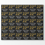 [ Thumbnail: 22nd Birthday: Elegant Luxurious Faux Gold Look # Wrapping Paper ]