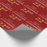 [ Thumbnail: 22nd Birthday: Elegant, Red, Faux Gold Look Wrapping Paper ]