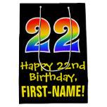 "[ Thumbnail: 22nd Birthday: Fun, Bold, Colorful, Rainbow ""22"" Gift Bag ]"