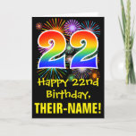 [ Thumbnail: 22nd Birthday: Fun Fireworks Pattern + Rainbow 22 Card ]