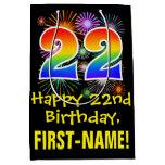 [ Thumbnail: 22nd Birthday: Fun Fireworks Pattern + Rainbow 22 Gift Bag ]