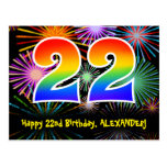 [ Thumbnail: 22nd Birthday – Fun Fireworks Pattern + Rainbow 22 Postcard ]
