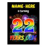 "[ Thumbnail: 22nd Birthday - Fun Fireworks, Rainbow Look ""22"" Postcard ]"