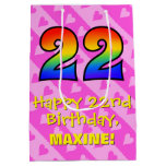 [ Thumbnail: 22nd Birthday: Fun Pink Hearts Stripes; Rainbow 22 Gift Bag ]