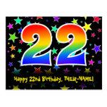 [ Thumbnail: 22nd Birthday: Fun Stars Pattern, Rainbow 22, Name Postcard ]