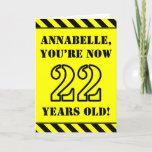 [ Thumbnail: 22nd Birthday: Fun Stencil Style Text, Custom Name Card ]
