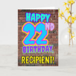 [ Thumbnail: 22nd Birthday - Fun, Urban Graffiti Inspired Look Card ]
