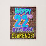 [ Thumbnail: 22nd Birthday ~ Fun, Urban Graffiti Inspired Look Jigsaw Puzzle ]