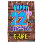 [ Thumbnail: 22nd Birthday: Fun, Urban Graffiti Inspired Look Gift Bag ]