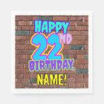 [ Thumbnail: 22nd Birthday ~ Fun, Urban Graffiti Inspired Look Napkins ]
