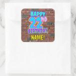 [ Thumbnail: 22nd Birthday – Fun, Urban Graffiti Inspired Look Sticker ]