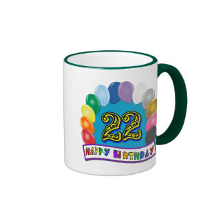 22nd Birthday Gifts with Assorted Balloons Design Ringer Mug