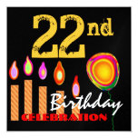 """22nd Birthday Gold Candles and Balloon Metallic 5.25"""" Square Invitation Card"""