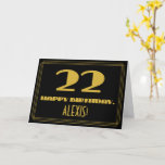 "[ Thumbnail: 22nd Birthday: Name + Art Deco Inspired Look ""22"" Card ]"
