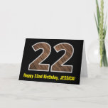 "[ Thumbnail: 22nd Birthday: Name + Faux Wood Grain Pattern ""22"" Card ]"