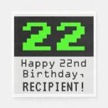 "[ Thumbnail: 22nd Birthday - Nerdy / Geeky Style ""22"" & Name Napkins ]"