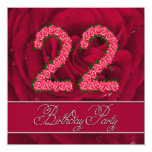 22nd birthday party invitation with roses