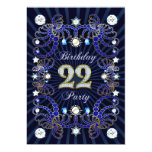 22nd birthday party invite with masses of jewels