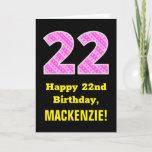 "[ Thumbnail: 22nd Birthday: Pink Stripes and Hearts ""22"" + Name Card ]"