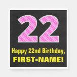 "[ Thumbnail: 22nd Birthday: Pink Stripes and Hearts ""22"" + Name Napkins ]"