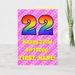 [ Thumbnail: 22nd Birthday: Pink Stripes & Hearts, Rainbow # 22 Card ]