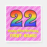 [ Thumbnail: 22nd Birthday: Pink Stripes & Hearts, Rainbow # 22 Napkins ]