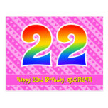 [ Thumbnail: 22nd Birthday: Pink Stripes & Hearts, Rainbow 22 Postcard ]