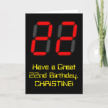 """[ Thumbnail: 22nd Birthday: Red Digital Clock Style """"22"""" + Name Card ]"""