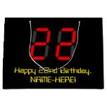 "[ Thumbnail: 22nd Birthday: Red Digital Clock Style ""22"" + Name Gift Bag ]"