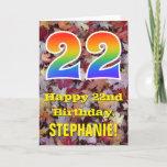 "[ Thumbnail: 22nd Birthday; Rustic Autumn Leaves; Rainbow ""22"" Card ]"
