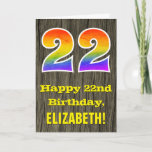 "[ Thumbnail: 22nd Birthday: Rustic Faux Wood Look, Rainbow ""22"" Card ]"