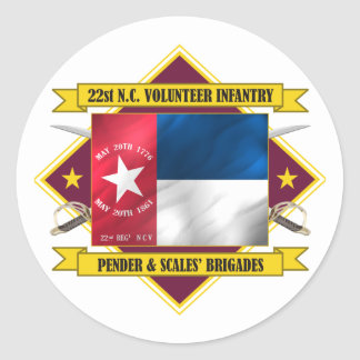 22nd North Carolina Volunteers (Flags 3) Classic Round Sticker