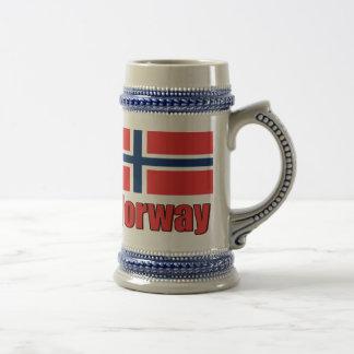 22oz Blue/Grey Stein Norway\Flag 18 Oz Beer Stein