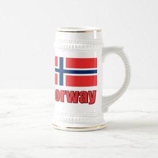 22oz White\Gold Stein Norway\Flag 18 Oz Beer Stein