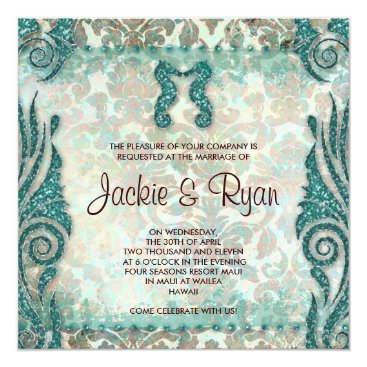 Beach Themed 232 Beach Wedding Invitation Seahorse Vintage Teal