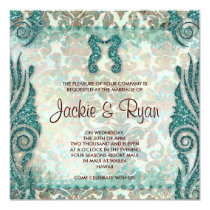 232 Beach Wedding Invitation Seahorse Vintage Teal