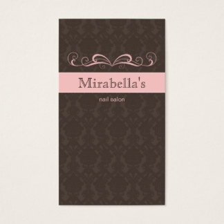 232 Business Card Damask Swirl Pink Brown