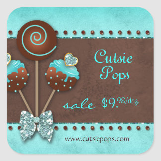 232 Cake Pops Bakery Sparkle Blue Brown Candy Square Sticker