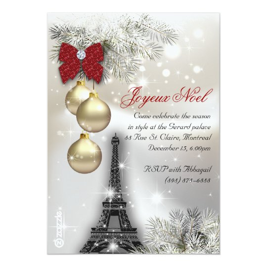 232 Christmas Paris Card Eiffel Tower Snow