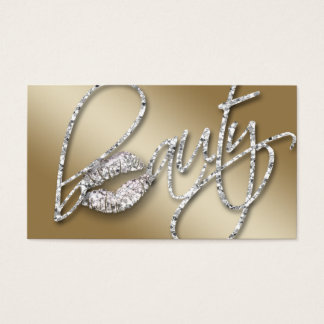 232 Cosmetologist Business Beauty Text Gold Ice Business Card