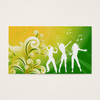 232 Dj Business Music Green Yellow Retro Dance Business Card