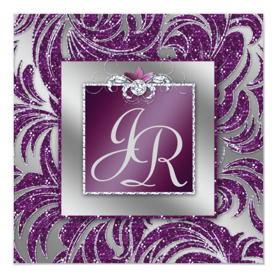 232 Elegant Wedding Leaf Floral Purple Sparkle Card