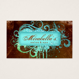232 Grunge Glitter Salon Spa Brown Blue Business Card