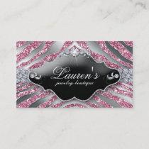 232 Jewelry Zebra Business Card Sparkle Pink SB