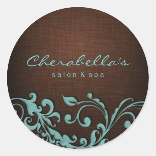 232 linen salon spa sticker blue brown zazzle for Stickers salon