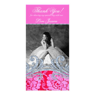 232 Quinceanera Sweet Sixteen Floral Lace Glitter Card